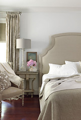 Traditional gray bedroom: Benjamin Moore 'Revere Pewter' (SarahKaron) Tags: house inspiration home monochrome grey design bedroom paint interior gray decorating headboard decor sophisticated soothing housebeautiful neutral benjaminmoore paintcolors paintideas