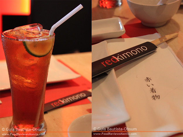 Red Kimono Iced Tea and chopsticks