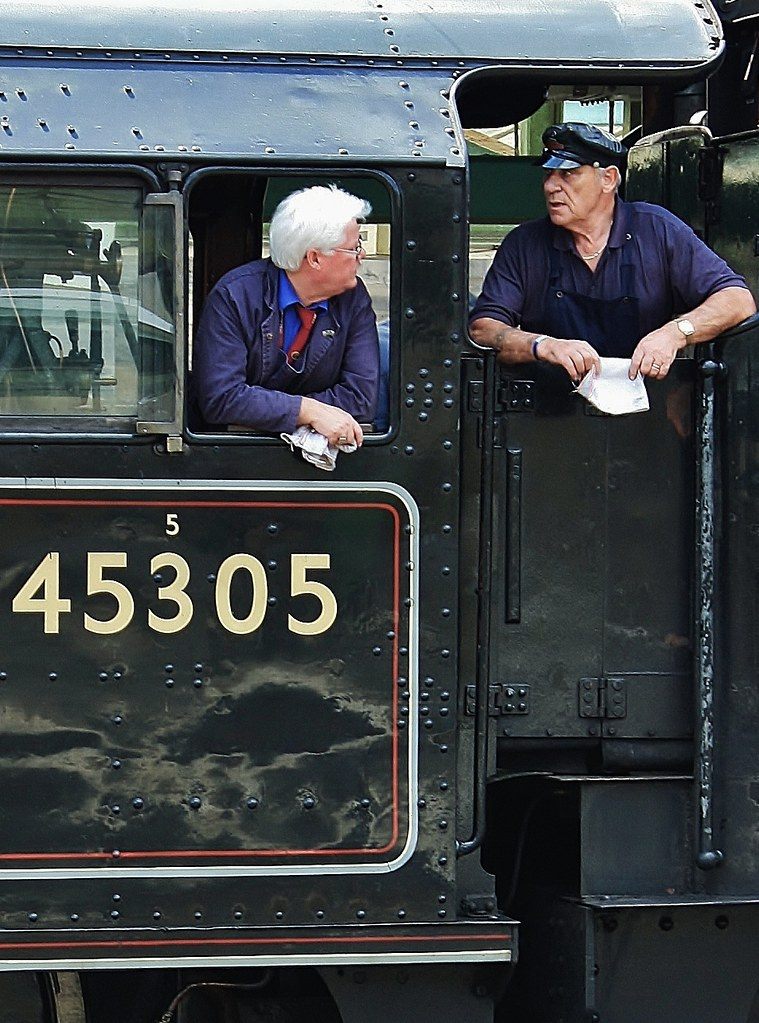 Driver Mick Rawlings and Fireman On Footplate Of Black Five Class 4-6-0 Steam Loco No. 45305 - Carlisle 23rd July 2011