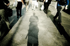 6:30pm -- The sun is out there, still hot (Kohei Ueda (f.k.a. Lindeberg Feller)) Tags: street light summer people sunshine walking lumix evening washingtondc dc washington shadows legs metro framed candid sunny pedestrian snap panasonic framing dmc lx5