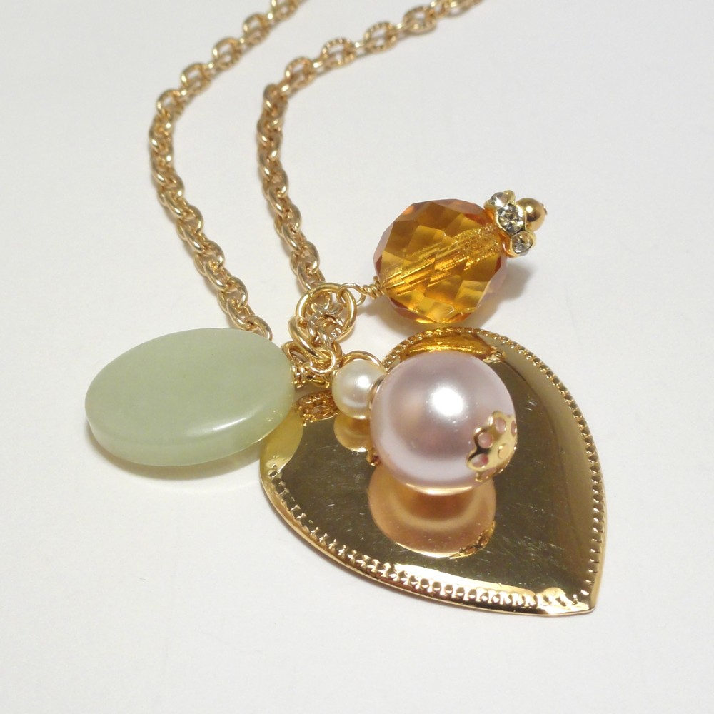 Gold Heart Necklace with Jade, Crystal and Pearl - A Love to Remember