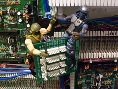Copperhead & Night Creeper dismantle the network. (atjoe1972) Tags: gijoe roc toys actionfigure cobra computers sabotage hasbro copperhead 375 334 118th nightcreeper atjoe1972
