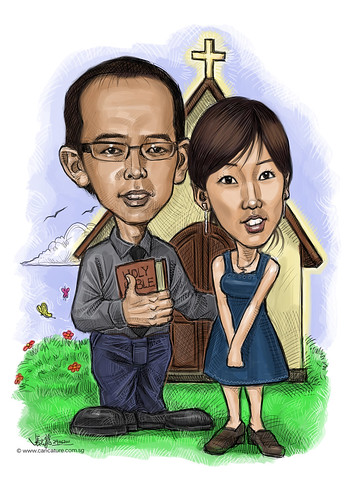 digital couple caricatures @ church