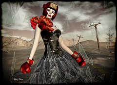 In Case of Emergency (Alles Klaar) Tags: red woman glass beauty clouds framed helmet smoking secondlife windlight thewastelands boxinggloves telegraphpoles filterforge