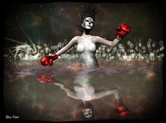 The Aquatic Boxer (Alles Klaar) Tags: flowers red woman water beauty tattoo clouds reflections stars framed posed secondlife windlight boxinggloves simplybeautiful filterforge jaspose