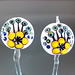 Earring Pair : White Yellow Flower Blossom