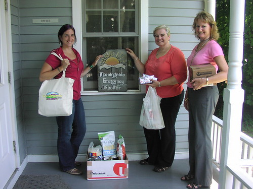 Emily Clever, Morningside Shelter Case Manager, Deborah Boyd, RD Specialist, and Laura Gibson, co-chair of the Vermont RD Feds Feed Families campaign, deliver food donations to the Morningside Shelter in Vermont.