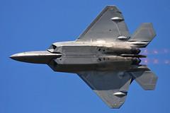F-22 Raptor with some nice burner shockwave diamonds (JetImagesOnline) Tags: fighter jet airshow raptor stealth f22 airforce burner usaf langley lockheedmartin afterburner