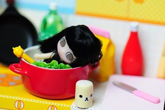 Nom Nom Nom (Sai / Rebecca) Tags: bear pink red green cooking kitchen yellow relax japanese miniature bottle nikon keychain doll salt cream mini pot tiny kawaii shaker rement rilakkuma sanx  odeco  d5000    nonbiricooking