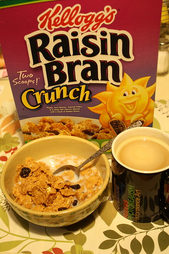 Raisin Bran Crunch cereal, coffee