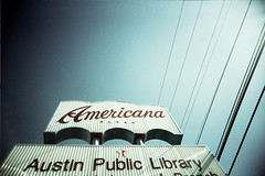americana (s myers) Tags: camera blue film public lines sign 35mm vintage austin toy xpro branch texas fuji power crossprocess library tx americana vignette provia100f yarborough vivitarultrawideandslim photoworkssf vuws