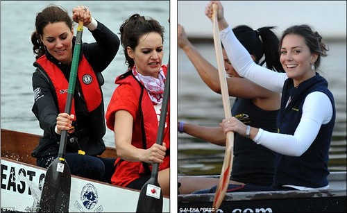 Prince William rules the waves as he beats Duchess of Cambridge in dragon boat race but despite the drizzly day Kate Middleton looks simply 28