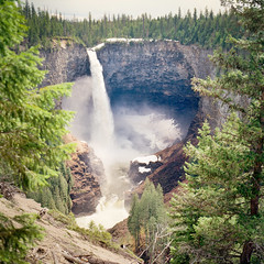 Helmcken Falls (christian.senger) Tags: park travel brown white snow canada tree green 6x6 film nature water rollei analog rolleiflex america forest mediumformat river geotagged waterfall kodak outdoor britishcolumbia gray canyon squareformat sl66 distance lightroom ektar carlzeiss silverfast christiansenger:year=2011 foursquare:venue=24807454
