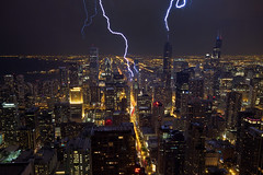 Lightning strikes Chicago (Silver1SWA (Ryan Pastorino)) Tags: chicago storm night canon searstower sigma 7d thunderstorm lightning sigma1020 willistower