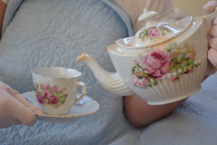 Cup of tea ? (frenchblueandpeachypink) Tags: pretty teacups teaparty palepink shabbychic frenchcountry antiquechina vintagegloves frenchblue victorianchina