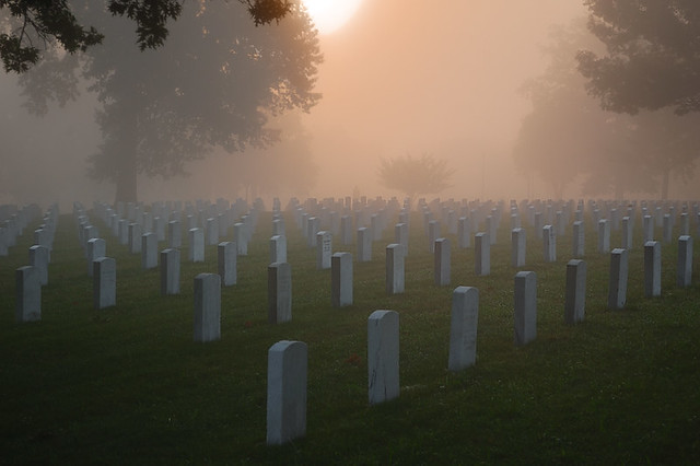 Jefferson Barracks National Cemetery, in Lemay, Missouri, USA - in fog at sunrise - 1