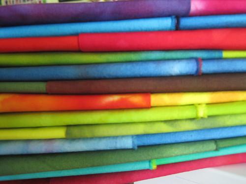 folded hand dyed fabrics