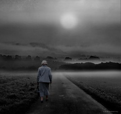 Sound of Silence (h.koppdelaney) Tags: life old november bw woman mist art digital photoshop grey october alone peace nebel view symbol walk picture philosophy september elderly age silence harmony mind sound wisdom awareness metaphor enlightenment retired alter stillness emptiness psyche symbolism psychology spaziergang archetype conscious hgel rentnerin weisheit allein heimweg rente pensionr idream lebensweg koppdelaney