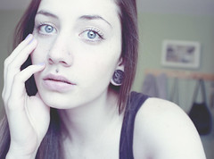 (skelseys) Tags: blue portrait girl self canon hair rebel eyes long eyelashes lip piercings medusa plugs gauges xsi nostrils philtrum