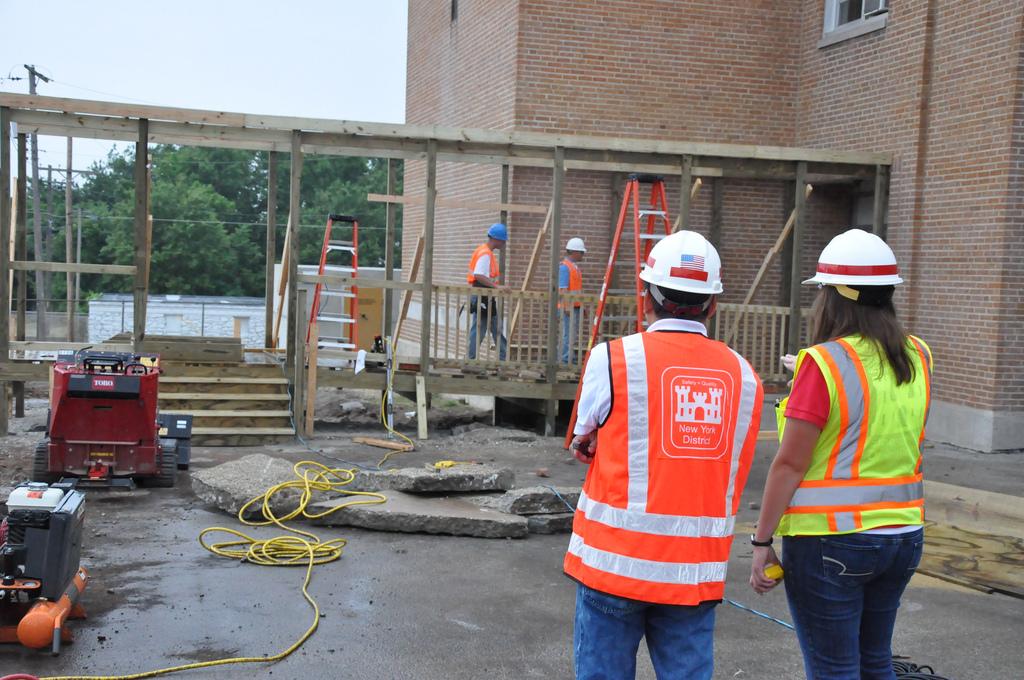 Construction on temporary walk way in Joplin, Missouri