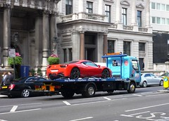 Towed (BenGPhotos) Tags: red london car truck italia ferrari tow supercar v8 spotting towed 458 2011 worldcars