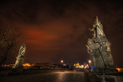 Day of Reckoning (TheFella) Tags: longexposure bridge red sky tree slr statue clouds digital photoshop canon eos photo high europe dynamic czech prague apocalypse statues charles praha unescoworldheritagesite unesco photograph processing slowshutter czechrepublic nightmare dslr charlesbridge range hdr highdynamicrange biblical karluvmost postprocessing 500d photomatix
