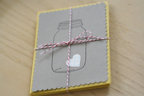 love in a jar cards (with mustard envelopes!)