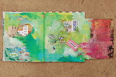 Summer & Flap - In Process (mypeacetree) Tags: color art collage spread mixed media paint acrylic journal page unfinished inprogress artjournal