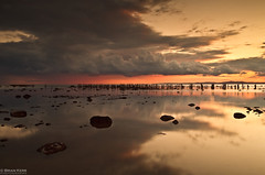 Rain Clouds (.Brian Kerr Photography.) Tags: sunset sky seascape colour rain clouds canon reflections landscape scotland rocks cumbria posts rainclouds solway dumfries galloway allonby eos5dmkii