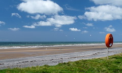 Silecroft beach in summer (Emiko and Daniel) Tags: blue sea england sky cloud beach public coast lakedistrict panasonic cumbria irishsea plfilter silecroft fz28