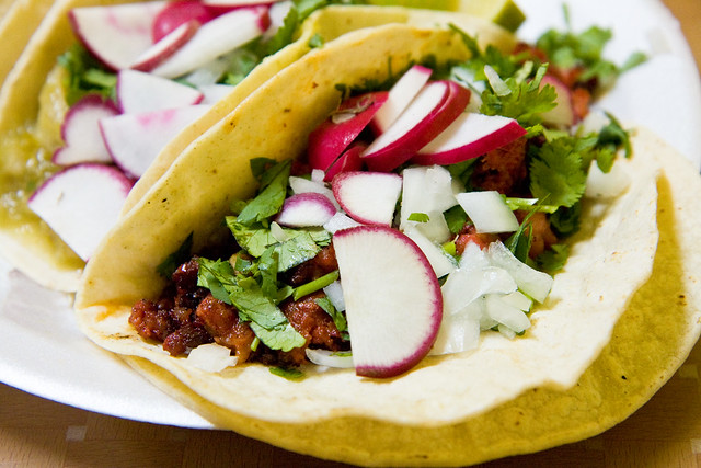 Chorizo and pork skin tacos, Guelaguetza