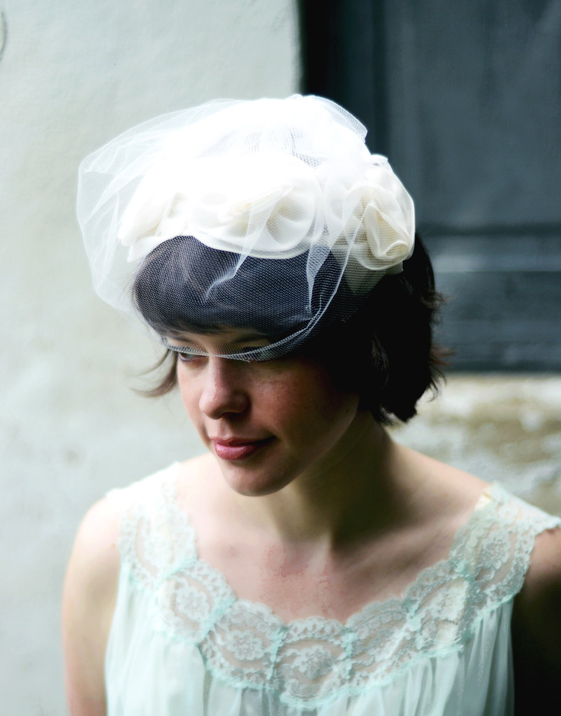 VIntage Half Hat with Ivory Tulle Rosettes