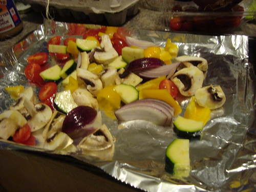 veggies ready to be roasted and then put on pizza