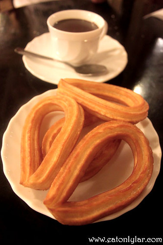 Churros with thick Spanish chocolate, Cafe de L'Òpera