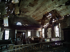 Amazing DisGrace (Rodney Harvey) Tags: rot abandoned church decay kansas forsaken pews pulpit tinceiling
