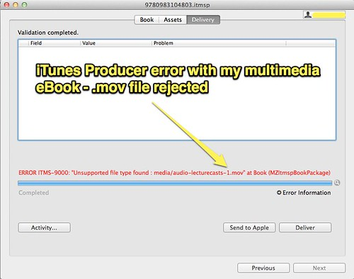 iTunes Producer error - MOV