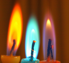 Happy Night (Tony Worrall) Tags: light party copyright 3 color beauty fun fire three nice rainbow candles glow candle colours image stock row flame heat glowing inside tall trio lit dim wick shimmer firey funparty 2011tonyworrall