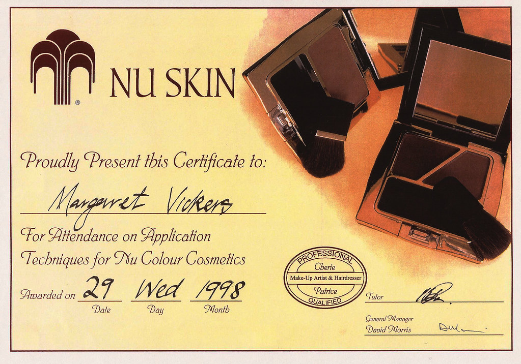 Certificate in Make-up and Skin-care to Margaret Vickers in 1998.