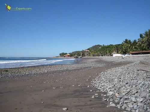 dark sand beach in costa rica