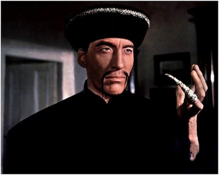 Christopher Lee en Fu Manchu dans le film Le Masque de Fu Manchu (Don Sharp, 1965)