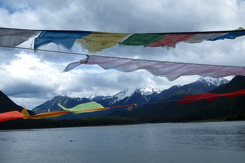 Prayer flags over the lake