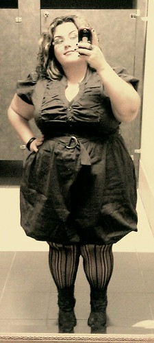 Me, in grey Torrid dress