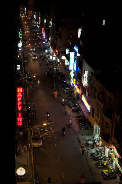 Pham Ngu Lao backpacker area.  Not a true portrait of Saigon but a true portrait of touristy Siagon.  Full of bars, shops and ladies of the night.