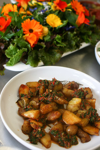 Roasted Pink Fir Potatoes with Harissa