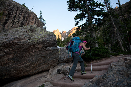Hiking in pre-dawn