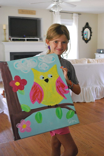 owl art painting