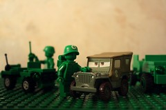 The Mother Road Survival Kit (nefasth) Tags: cars toy army lego jeep toystory disney pixar ww2 minifigs mattel jouet armymen sarge arme