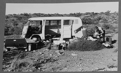 Kombi camping on Cape Range (spelio) Tags: blue camping bw vw easter album favorites australia western favourites wa cape 1968 caving karst range favs exmouth hos splitty wasg dirkhoss 29views20812linked