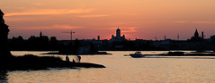 Helsinki Cityscape (Hailten) Tags: sunset sea summer water night finland island fire boat helsinki cathedral dusk klippan uspenski