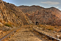 Train tracks and tunnel in the middle of the Anza-Borrego Desert. San Diego and Arizona Railroad (SD&AE) / Carrizo Gorge Railway (slworking2) Tags: railroad train geotagged desert tracks anzaborrego geo:lat=327661775333332 geo:lon=116184382933332